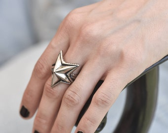 womens silver star ring, star silver ring for women, unique rings, gypsy rings, bohemian star rings, silver ring, womens star ring
