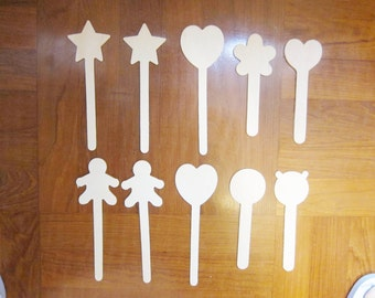 10 Popsicle Sticks with Shapes, Kids Party Gifts, Kids Craft Supplies, Cake Top, Bookmark, Wholesale Wood Craft