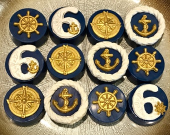 Nautical Blue and Gold Chocolate Covered Oreos