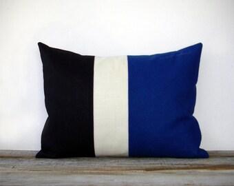 Cobalt Colorblock Stripe Pillow in Cream and Black Linen by JillianReneDecor - Black and White - Indigo Blue Striped Trio