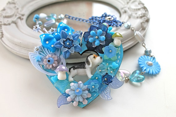 Kawaii fairy kei necklace dog puppy blue flowers extravagant lolita