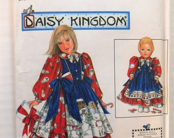 Simplicity 7789, Daisy Kingdom Girl's Full Dress and Pinafore  plus 17 inch Doll Dress,  Girl's Size 3  4  5  6, Long Puffy Sleeves