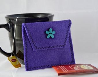 Tea Bag Carrier, Purple Tea Tote, Reusable Tea Pouch, Tea Wallet,  Felt Envelope, Tea Bag Pouch, Tea Accessory, Mother's Day Gift