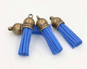 Royal Blue tassel suedine 38 mm bronze