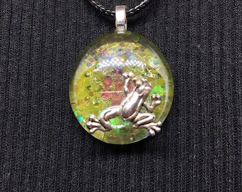 Hand Painted Glass Necklace [Lilly pad- Frog]