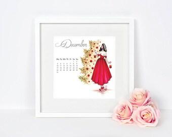 2018 wall calendar, fashion illustration, Fashion Calendar, 2018 Calendar, Calendar 2018, Wall Calendar 2018, 2018 Calendar gift, Calendar