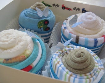 Baby Boy Onesie, Bib, Socks and Washcloth Adorable 8 Piece Cupcake Set