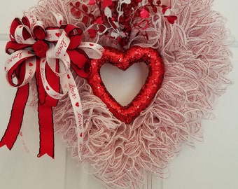 Mother's Day Wreath Heart Wreath Anniversary Wreath Valentine's Day Wreath  Sweetest Day KCwags Wreaths Red & White Wreath Front Door Decor