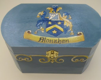 personalized, keepsake box, family crest, slate blue,royal blue, yellow,family keepsake box,kids boxes,boys memory box,baby's keepsake box,