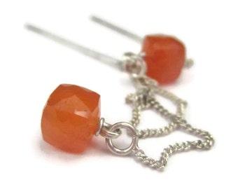 Orange Threader Earrings in Sterling Silver Long Carnelian Gemstone Ear Threads Cube