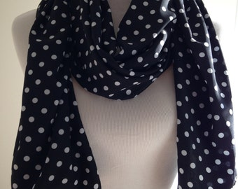 Black with White Polka Dot Scarf, Black Infinity,Black and White Scarf,Black Shawl,Scarf,Polka Dot Infinity,Gift,Women's Scarf,FREE SHIPPING