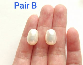 A grade Half Top drilled White Freshwater Pearl Oval Drops 9-9.5 mm One Pair Perfect for Earrings J7500