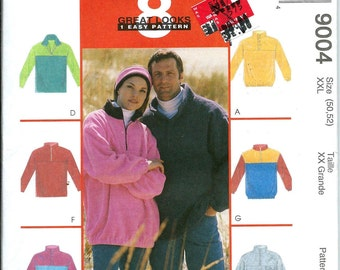 McCall's 9004 Misses and Men's Pullover Fleece Top and Headband Pattern. Size XXL 50-52, UNCUT