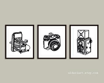 Vintage Cameras Art Prints - Cameras Wall Art - Art Gift For Photographer - Black and White Colors - Camera Poster - Aldari Art