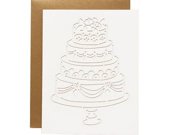 Wedding Card - Traditional Cake Laser Cut Card