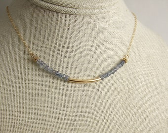 Necklace with Blue Mystic Quartz and a 14k Gold-Filled, Curved Tube on a 14k Gold-Filled Chain GCDN-40