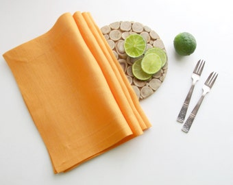 Orange Linen Placemat, Handmade Table Linen, Linen Wedding Decor, Dining Supply, Home Textiles, Mitered Corners