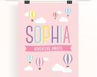 Custom baby girl name print - sophia - hot air balloon print - adventure poster - baby pink nursery art - pastel rainbow print - uk seller