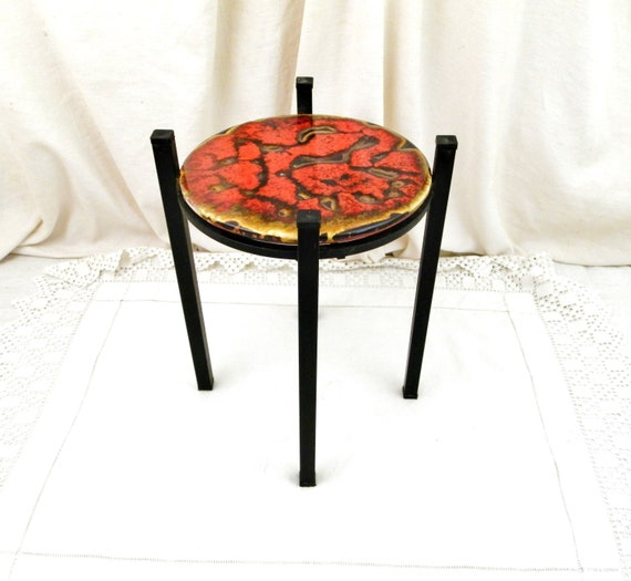 Vintage French Mid Century Modern 1960s Black Metal and Red Lava Glaze Ceramic Vallauris Plant Stand, Retro 60s House Plant Pot Table