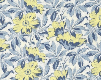 Windham Fabrics - Century Florals Series - Blue Yellow Floral - White  Background - Reproduction -  Circa 1920 - By the Yard