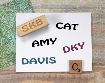 Simple Initials Stamp, Custom Name Stamp, Personalized Rubber Stamp, Kids Name Stamp, Scrapbooking Stamp, Labeling Stamp 022