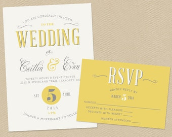 Wedding Invitation and RSVP Printable Set - Yellow and Grey Typographic - Vintage