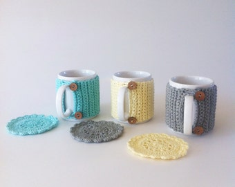 Mug and Cosy with Matching Coaster Made With Organic Cotton