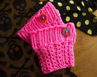 Neon Pink Crochet Boot Cuffs