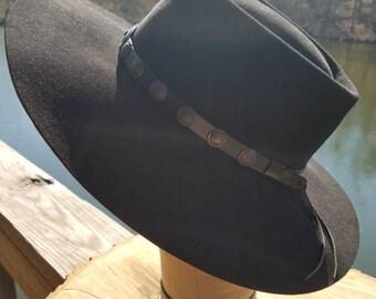 Vintage Stetson Cowboy hat black with leather hatbelt