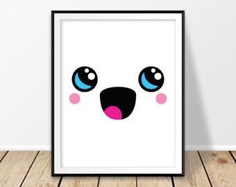 Kawaii art Digital print Cute Kawaii anime Harajuku Kawaii wall art Kawaii face Baby girl Nursery decor Kawai poster Printable  Kids room