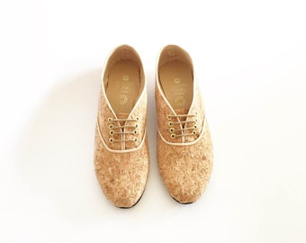 Plain Cork vegan pony oxford shoes (Handmade to order)