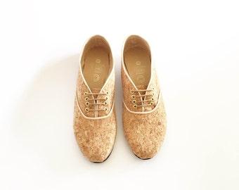 Plain Cork vegan pony oxford shoes (Handmade to order)