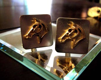 Vintage Hickok Cuff Links Silhouette Gold and Silver Horse Head Equestrian Red Eye USA