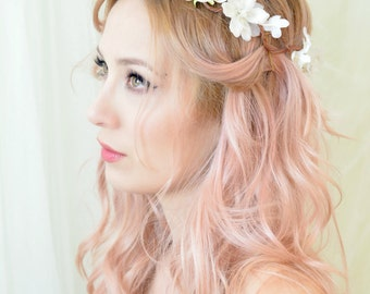 Boho wedding headpiece, white flower crown, woodland headpiece, floral crown, wedding hair wreath, hair accessories by gardens of whimsy