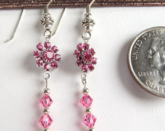 Swarovski Rose Florets on Sterling Silver Bali Style Earwires with Rose Crystals