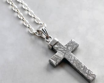 Muonionalusta  Meteorite And Silver Cross Necklace