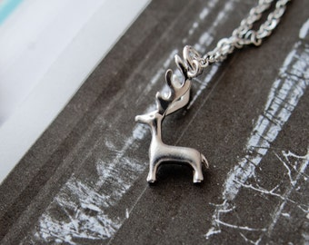 Silver Stag Necklace, Stag Pendant, Deer Necklace, Deer Pendant, Deer Charm, Silver Stag Charm, Christmas Necklace, Stocking Filler