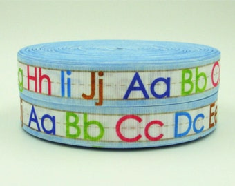 1 inch Alphabet on Light Blue (A-J) - Back to School - Printed Grosgrain Ribbon for Hair Bow