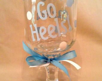 University of North Carolina GO HEELS Redneck Wine Glass for UNC Tarheels fans