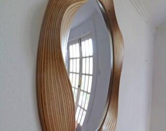 Large Convex mirror - Round convex mirrors - Wooden convex mirror for living room, bathroom, bedroom, hallyway or study