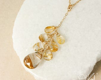 Golden Rutile Quartz Y Necklace - Golden Rutilated Quartz - Choose Your Pendant