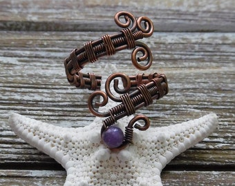 Amethyst Wire Wrapped Ring, Amethyst Jewelry, Wire Wrapped Jewelry, Crystal Gemstone Ring, Bohemian Jewelry, Statement Ring, Copper Ring