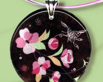 Cherry Blossom Necklace - GeoForms Vintage - Reversible Glass Art Necklaces