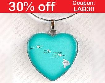 Hawaii Map Pendant, Hawaii Necklace, Hawaii Jewelry, Map Necklace, Honolulu Necklace, Hawaii Map, Heart, Gift, Hawaii Wedding, Charm, Travel