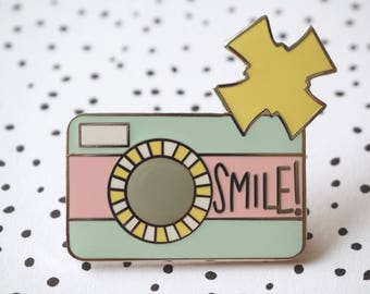 Enamel Pin - Smile! Camera Pin - Pastel Retro Camera - Flair