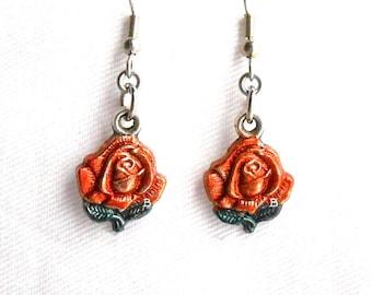 Copper Shimmer Rose Earrings