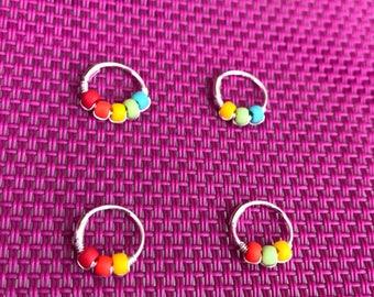 Beaded Helix Hoop / Thin Helix Hoop / Rainbow Helix Hoop / Rainbow Helix Ring / 20g Helix / Colourful Helix / Rainbow Nose Ring /