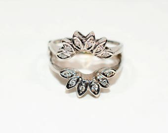 40% OFF SALE!! Sparkling Flower .24tcw Diamond 14kt White Gold Ring Guard Enhancer Wrap