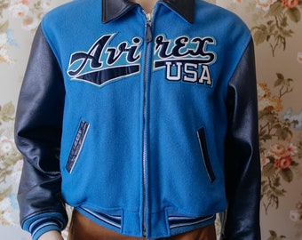 Super 1980s style VINTAGE VARSITY JACKET Leather sleeves Medium Size Black and blue