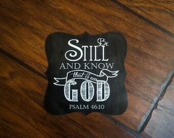 Scripture Magnet - 5x5 Ornate Magnet of Psalm 46:10
